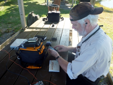 Checking out the QRP spotting page from Four Tree Island during Chowdercon/QRP Afield 2012. It's ba-a-ack!